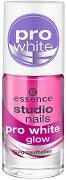 """Избелващ лак за нокти - Pro White Glow - От серията """"Essence Studio Nails"""" - крем"""