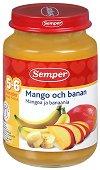 Пюре от манго с банани - Бурканче от 190 g за бебета над 5 месеца - пюре