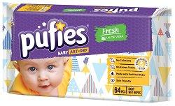 Бебешки мокри кърпички - Pufies Aloe Vera - Опаковки от 64 броя и 4 x 64 броя - продукт