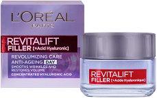 """L`Oreal Revitalift Filler HA Anti-Age Day Cream - Дневен крем против стареене с хиалуронова киселина от серията """"Revitalift Filler HA"""" - продукт"""