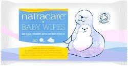 Natracare Baby Wipes - Бебешки мокри кърпички в опаковка от 50 броя - продукт