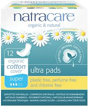Natracare Ultra Pads Super - Дамски превръзки с крилца в опаковка от 12 броя - сенки