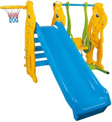 Детска пързалка с люлка и баскетболен кош - Зайче - Комплект с топка -