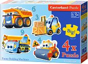 Забавни строителни машини - Четири пъзела с едри елементи за най-малките -