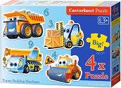 Забавни строителни машини - Четири пъзела с едри елементи за най-малките - пъзел
