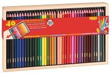 Цветни моливи в дървена кутия - Комплект от 40 цвята