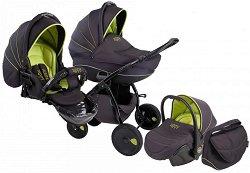 Бебешка количка 3 в 1 - Natural: Green Black - С 4 колела -