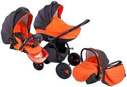 Бебешка количка 3 в 1 - Natural: Orange Black - С 4 колела - количка