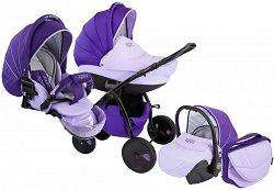 Бебешка количка 3 в 1 - Natural: Purple - С 4 колела -