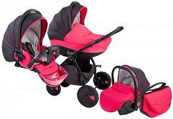 Бебешка количка 3 в 1 - Natural: Black Pink - С 4 колела -