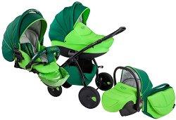 Бебешка количка 3 в 1 - Natural: Green - С 4 колела - количка