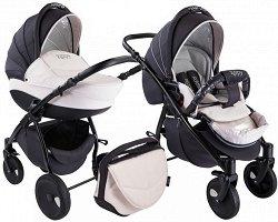 Бебешка количка 2 в 1 - Natural: Black White - С 4 колела -