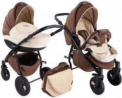 Бебешка количка 2 в 1 - Natural: Brown - С 4 колела -