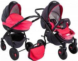 Бебешка количка 2 в 1 - Natural: Pink Black - С 4 колела -