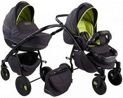 Бебешка количка 2 в 1 - Natural: Black Green - С 4 колела -
