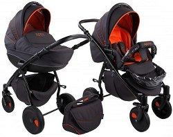 Бебешка количка 2 в 1 - Natural: Black Orange - С 4 колела -