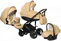 Бебешка количка 3 в 1 - Pia: Beige - С 4 колела - количка