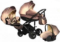 Бебешка количка 3 в 1 - Pia: Choco - С 4 колела -