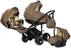 Бебешка количка 3 в 1 - Pia: Brown - С 4 колела -