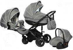 Бебешка количка 3 в 1 - Pia: Grey - С 4 колела -