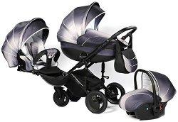 Бебешка количка 3 в 1 - Pia: Platinum - С 4 колела -