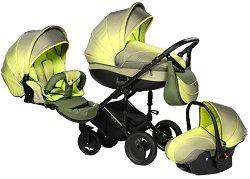 Бебешка количка 3 в 1 - Pia: Green - С 4 колела -