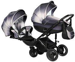 Бебешка количка 2 в 1 - Pia: Platinum - С 4 колела -