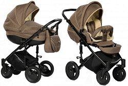 Бебешка количка 2 в 1 - Pia: Brown - С 4 колела -
