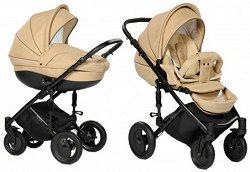 Бебешка количка 2 в 1 - Pia: Beige - С 4 колела -
