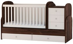 Трансформиращо се детско легло - Baby Junior - Цвят орех и алабастър -