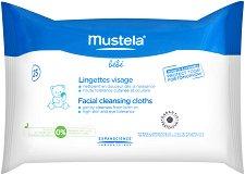 Mustela Bebe Facial Cleansing Cloths - Почистващи бебешки кърпички за лице в опаковка от 25 броя -