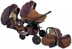Бебешка количка 3 в 1 - Natural: Brown - С 4 колела -