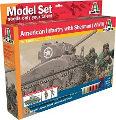 Танк Sherman М4 А1 и американски пехотинци - Сглобяем модел - комплект с лепило и бои - макет
