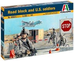 Военен пътен пост и американски войници - Сглобяем комплект - сграда и фигури - макет