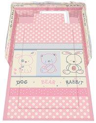 Спален комплект за бебешко креватче - Friends: Pink - 5 части с олекотена завивка -