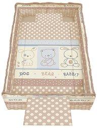 Спален комплект за бебешко креватче - Trend: Friends Beige - 5 части, за матрак с размер 62 x 110 cm -