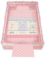Спален комплект за бебешко креватче - Trend: Friends Pink - 5 части, за матрак с размер 62 x 110 cm -