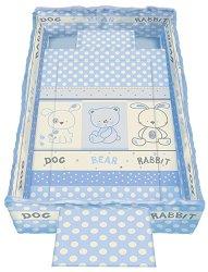 Спален комплект за бебешко креватче - Trend: Friends Blue - 5 части, за матрак с размер 62 x 110 cm -