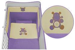 Спален комплект за бебешко креватче - Jersey: Violet - 5 части, за матрак с размер 60 x 120 cm -