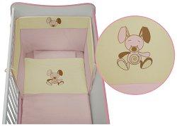 Спален комплект за бебешко креватче - Jersey: Pink - 5 части, за матрак с размер 60 x 120 cm -