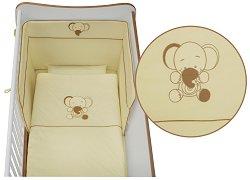 Спален комплект за бебешко креватче - Jersey: Beige - 5 части, за матрак с размер 60 x 120 cm -