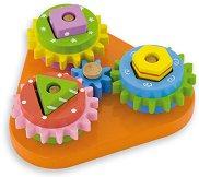 Зъбни колела - Детска дървена играчка с форми за нареждане - играчка