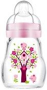 Розово стъклено шише за хранене - Feel Good 170 ml - Комплект със силиконов биберон размер 1 -