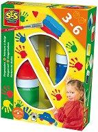 Бои за рисуване с пръсти - Комплект от 6 броя и четка