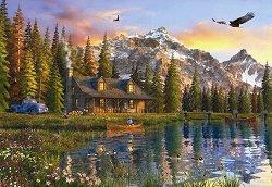 Стара къщурка край езерото - пъзел