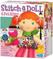 """Уший сама - Кукла с коте - Творчески комплект от серията """"Girl Craft"""" - играчка"""