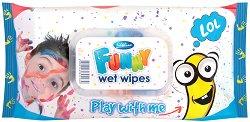 Детски мокри кърпички - Funny - Опаковка от 72 броя за момчета - гребен