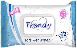 Trendy Soft Wet Wipes - Опаковка от 72 броя мокри кърпички без алкохол - дезодорант