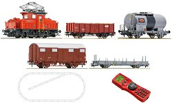 Товарен влак с електрически локомотив Ee3/3 - SBB - Дигитален стартов комплект с релси и дистанционно управление -