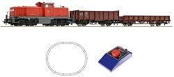Товарен влак с дизелов локомотив BR 290 - DB - Аналогов стартов комплект с релси и дистанционно управление - макет